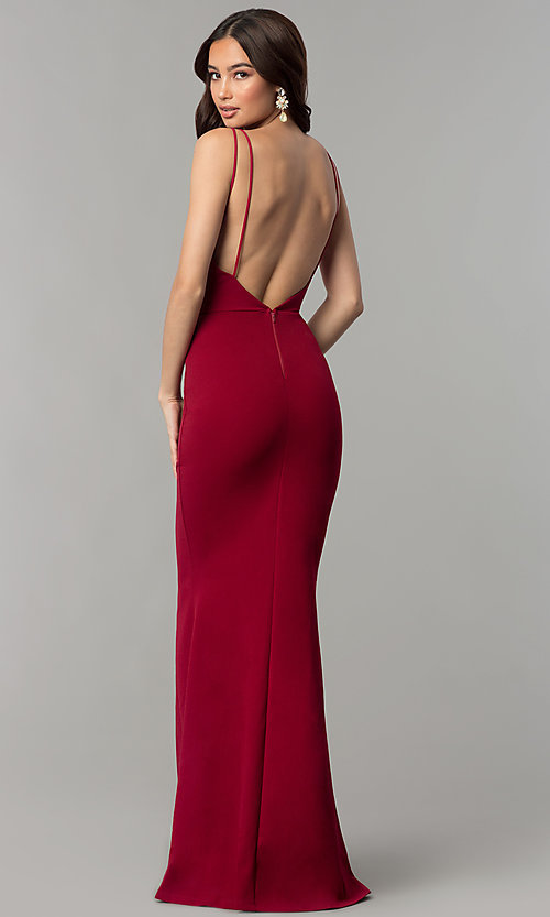Cheap Long V Neck Formal Prom Dress With Open Back