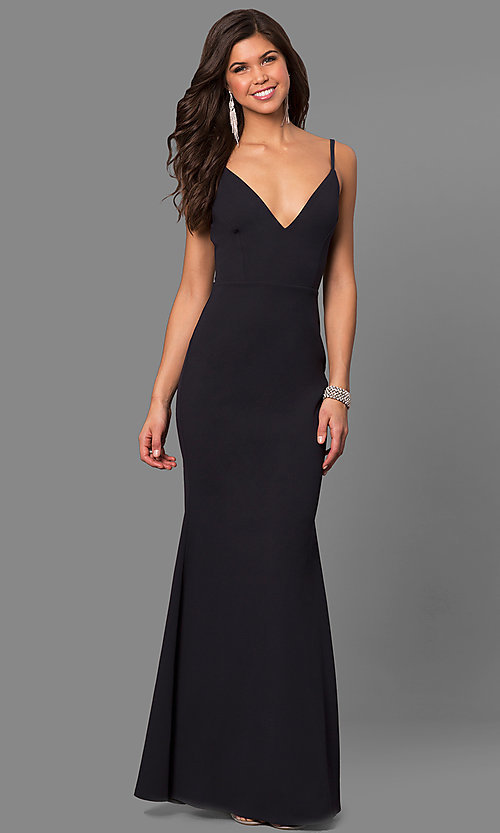 Image of formal v-neck long prom dress with open back. Style: SY-ID4148VY Detail Image 1