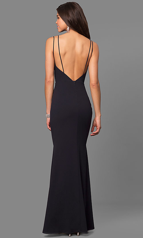 Image of formal v-neck long prom dress with open back. Style: SY-ID4148VY Detail Image 2