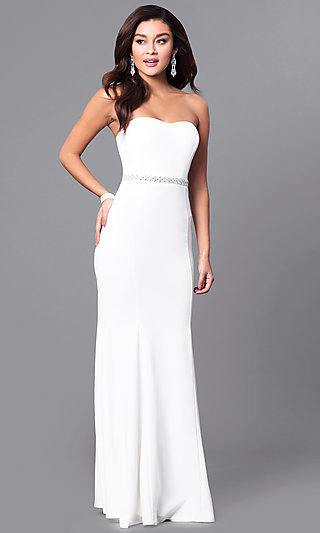 Strapless Ivory White Long Prom Dress with Jewels