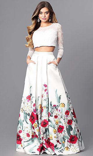 Formal Lace-Bodice Two-Piece Dress with Pockets