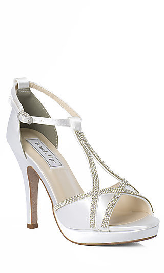 White Satin Touch Ups Prom Shoes