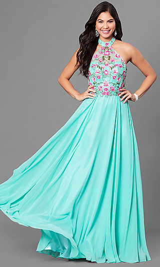 Long Halter Prom Dress with Floral Embroidery