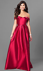 Image of satin formal off-the-shoulder long prom dress. Style: LP-24395 Front Image