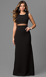 Image of long black formal dress with sheer-illusion waist.  Style: LP-24165 Detail Image 1
