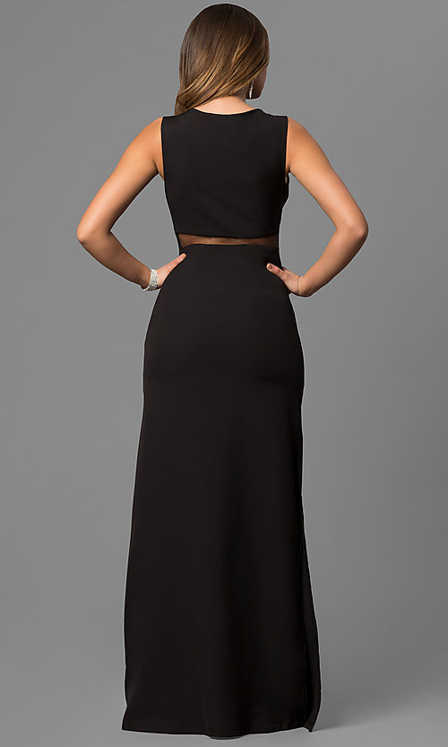 Image of long black formal dress with sheer-illusion waist.  Style: LP-24165 Back Image