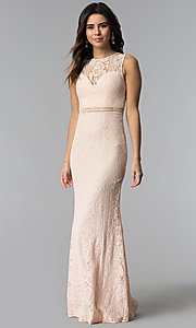 Image of lace long pink prom dress with sheer-illusion bodice. Style: LP-24179 Front Image