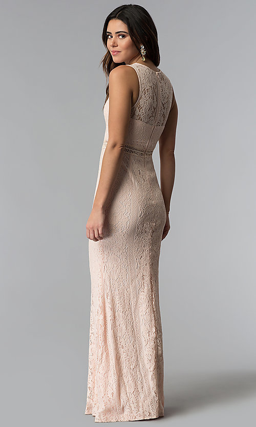 Image of lace long pink prom dress with sheer-illusion bodice. Style: LP-24179 Back Image
