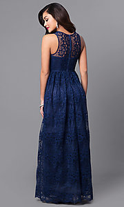 Image of empire-waist long lace wedding-guest dress. Style: LP-24221 Back Image