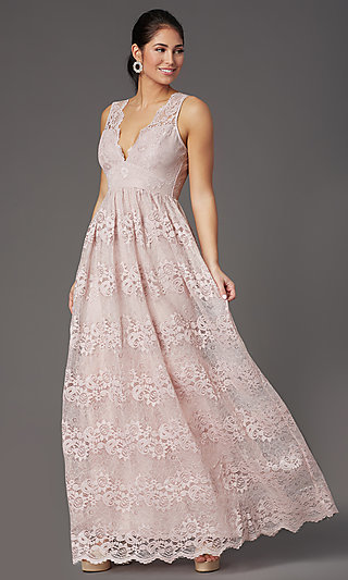 Empire-Waist Long Lace Wedding-Guest Dress