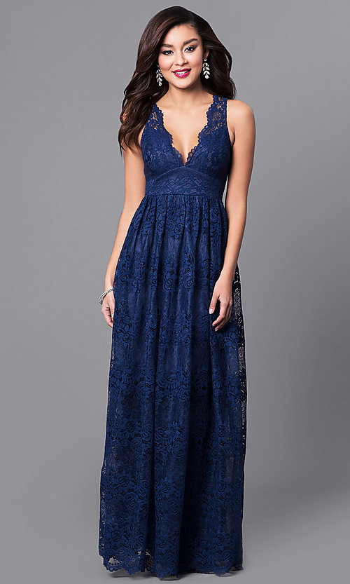 Image of empire-waist long lace wedding-guest dress. Style: LP-24221 Front Image