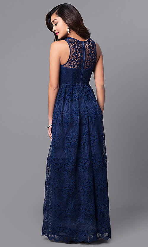 Long Lace Wedding-Guest Dress with Empire Waist