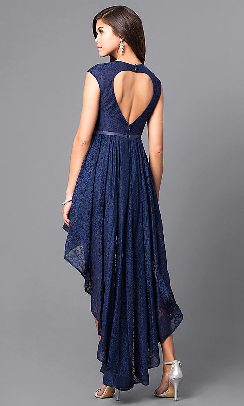 Cheap High-Low Lace Prom Dress with Back Cut Outs