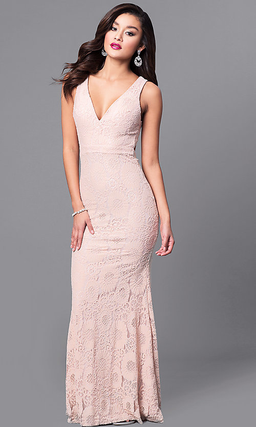 Cut-Out Long Lace Prom Dress with Deep V-Neckline