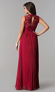 Image of long pleated prom dress with high-neck lace bodice. Style: LP-24305 Back Image