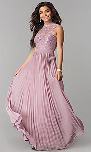 Image of long pleated prom dress with high-neck lace bodice. Style: LP-24305 Front Image