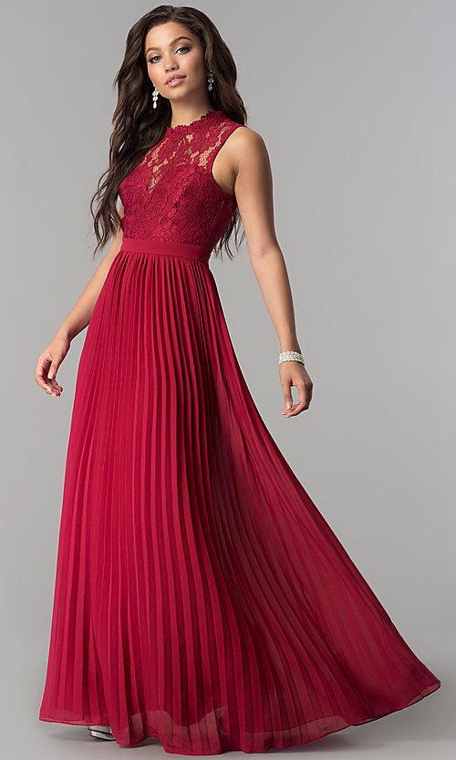 Image of long pleated prom dress with high-neck lace bodice. Style: LP-24305 Detail Image 2