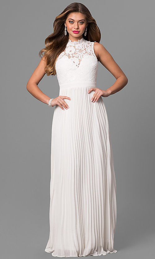 Image of long pleated prom dress with high-neck lace bodice. Style: LP-24305 Detail Image 3