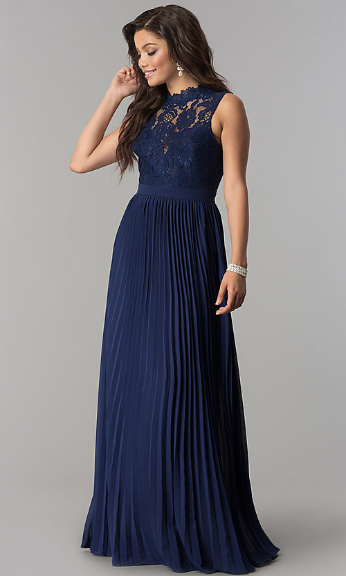 Image of long pleated prom dress with high-neck lace bodice. Style: LP-24305 Detail Image 1