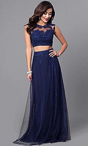 Image of two-piece long prom dress with embroidered lace. Style: LP-90008 Front Image