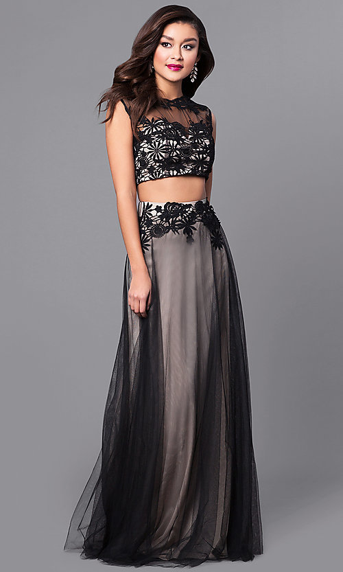 Image of two-piece long prom dress with embroidered lace. Style: LP-90008 Detail Image 1