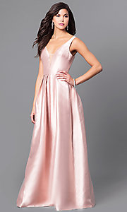 Image of satin v-neck long prom dress with box pleats. Style: LP-24262 Front Image