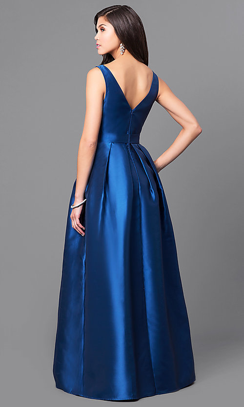 Image of satin v-neck long prom dress with box pleats. Style: LP-24262 Back Image