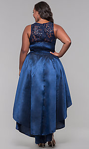 Image of high-low plus-size wedding guest dress with lace. Style: LP-24048P Back Image