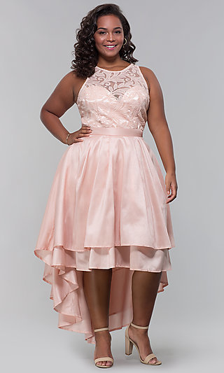 High-Low Plus-Size Wedding Guest Dress with Lace