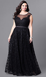 Image of formal long plus-size prom dress with illusion lace.  Style: LP-24061P Front Image