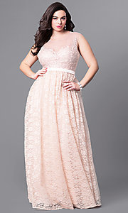 Image of formal long plus-size prom dress with illusion lace.  Style: LP-24061P Detail Image 1