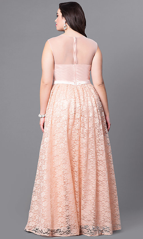 Image of formal long plus-size prom dress with illusion lace.  Style: LP-24061P Back Image