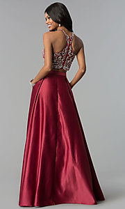 Image of navy blue long two-piece prom dress with pockets. Style: DQ-9832 Detail Image 3