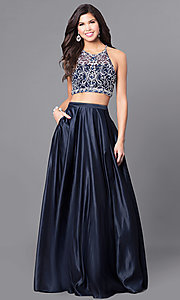 Image of navy blue long two-piece prom dress with pockets. Style: DQ-9832 Front Image
