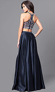 Image of navy blue long two-piece prom dress with pockets. Style: DQ-9832 Back Image