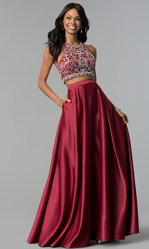 Image of navy blue long two-piece prom dress with pockets. Style: DQ-9832 Detail Image 2