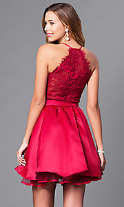 Image of v-neck burgundy red short party dress with lace back. Style: DQ-9836 Back Image