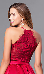 Image of v-neck burgundy red short party dress with lace back. Style: DQ-9836 Detail Image 2