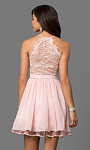 Image of v-neck short blush pink party dress with lace back. Style: DQ-9837 Back Image
