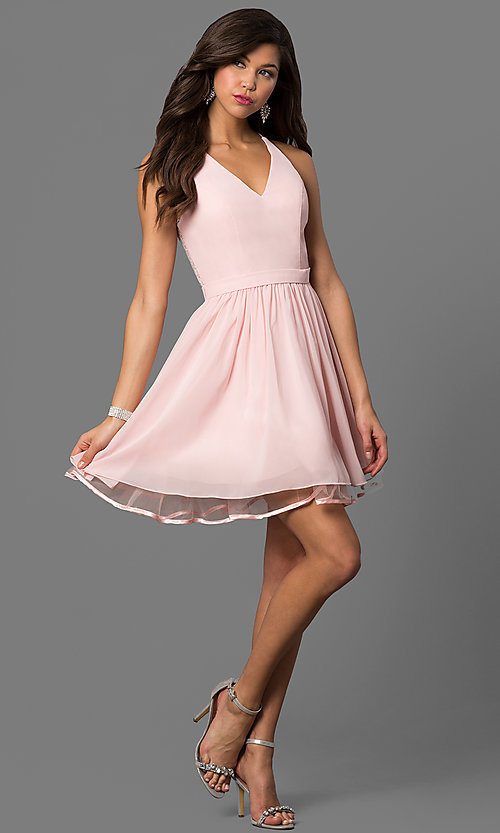 Image of v-neck short blush pink party dress with lace back. Style: DQ-9837 Detail Image 1
