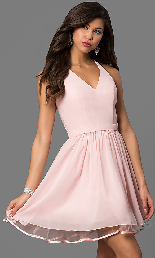 Image of v-neck short blush pink party dress with lace back. Style: DQ-9837 Front Image