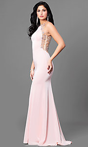 Image of formal long prom dress with sheer beaded back. Style: DQ-9810 Detail Image 1