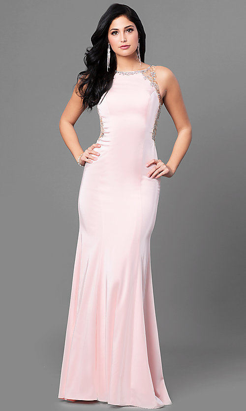 Image of formal long prom dress with sheer beaded back. Style: DQ-9810 Front Image