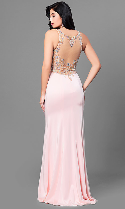 Image of formal long prom dress with sheer beaded back. Style: DQ-9810 Back Image