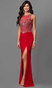 Image of open-back long prom dress with embellished bodice. Style: DQ-9700 Front Image