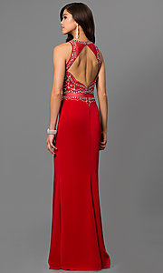 Image of open-back long prom dress with embellished bodice. Style: DQ-9700 Back Image