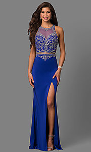 Image of open-back long prom dress with embellished bodice. Style: DQ-9700 Detail Image 2