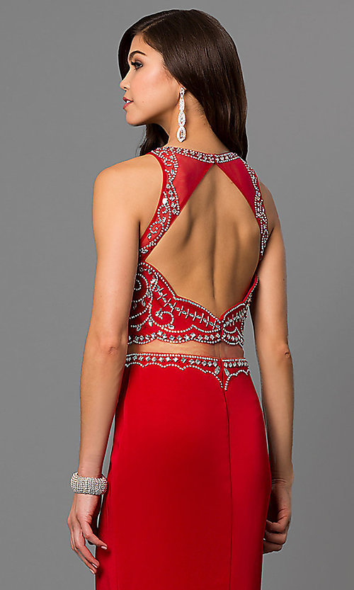 Image of open-back long prom dress with embellished bodice. Style: DQ-9700 Detail Image 1