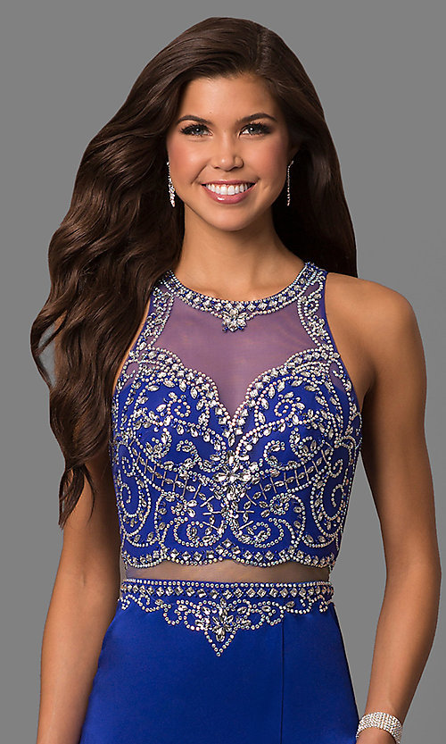Image of open-back long prom dress with embellished bodice. Style: DQ-9700 Detail Image 3