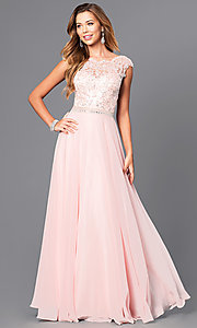 Image of jeweled lace-bodice long prom dress with v-back.  Style: DQ-9675 Front Image
